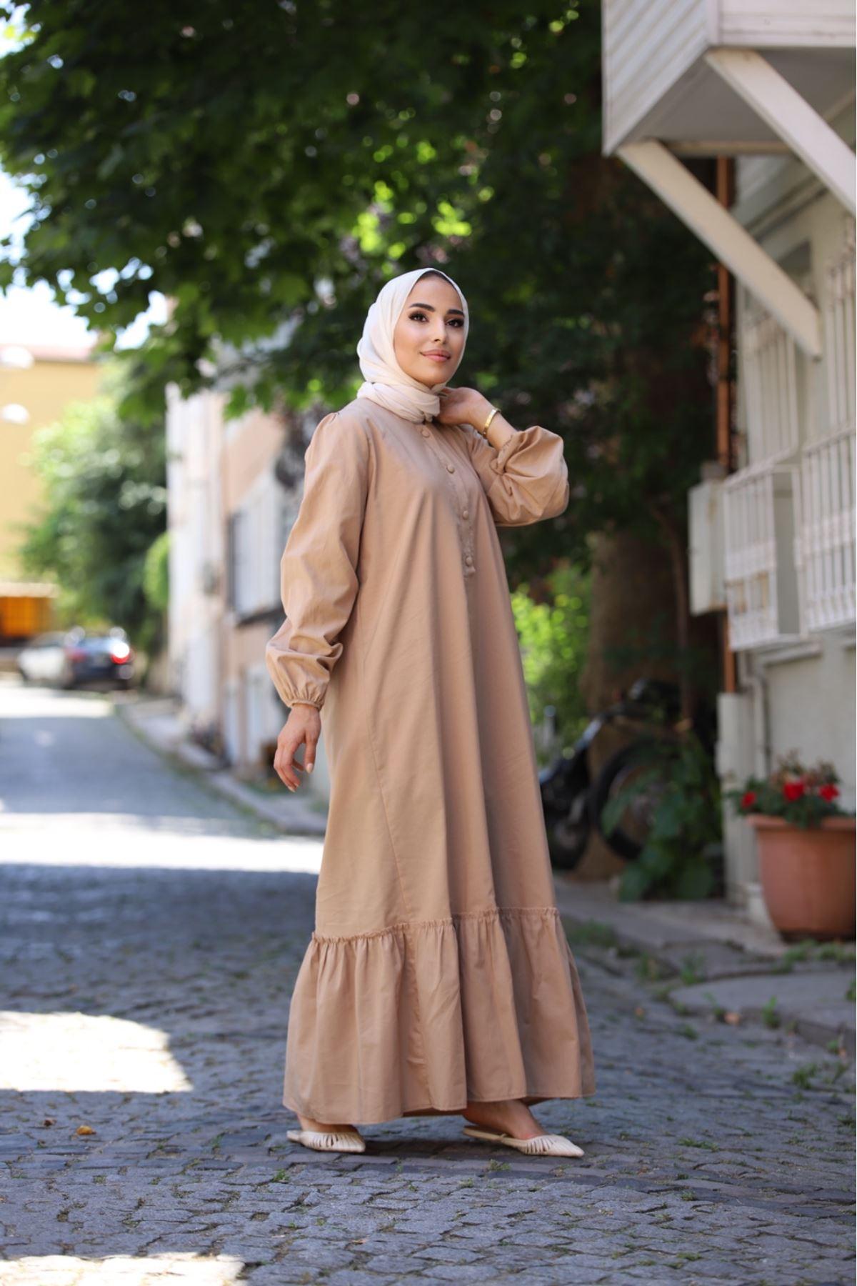 Ponpon elbise - Krem