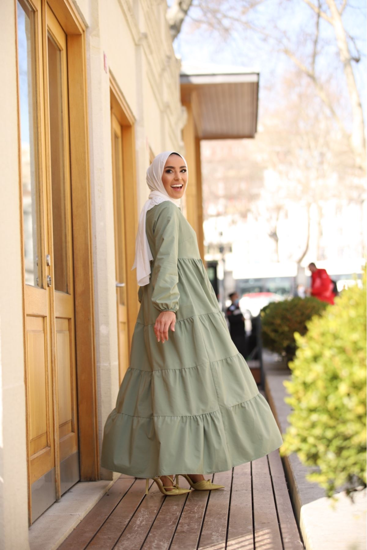 Yaka detaylı katkat elbise - Mint