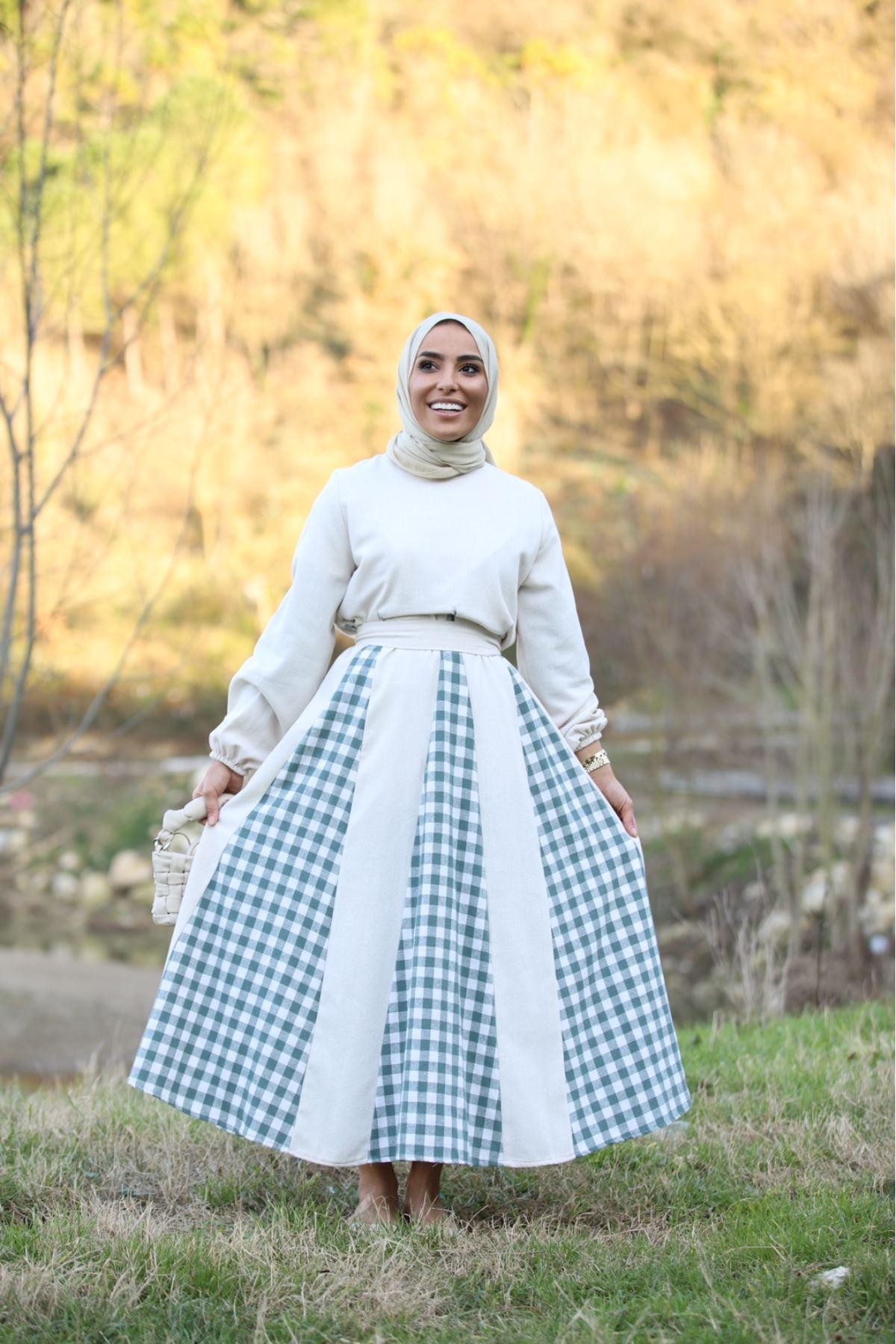 Pitikare detaylı keten elbise - Krem