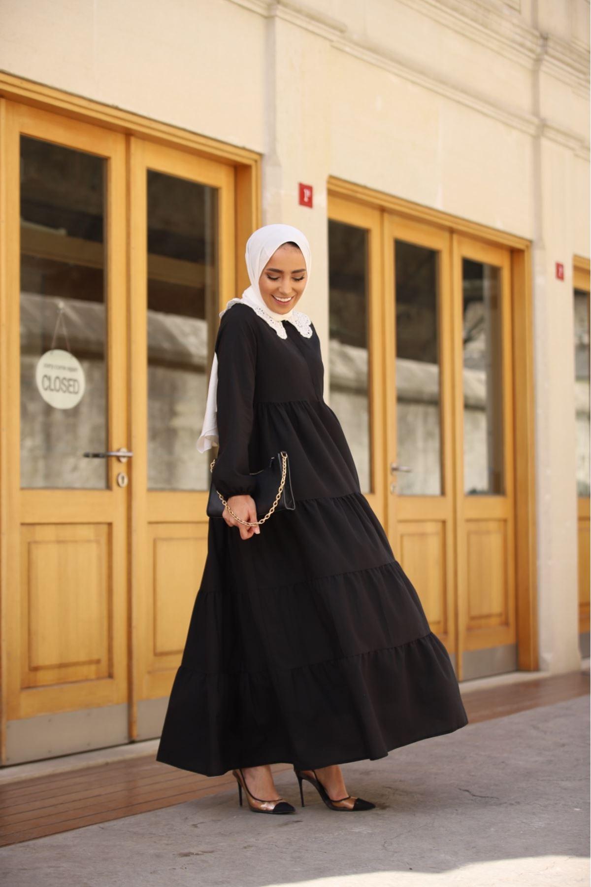 Yaka detaylı katkat elbise - Siyah