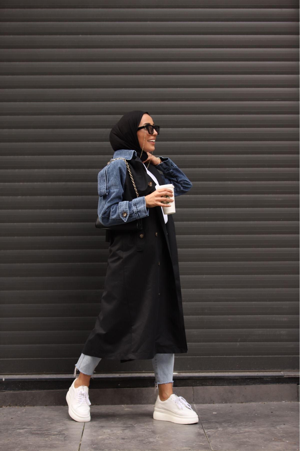Beitin kot detaylı trençkot - Siyah