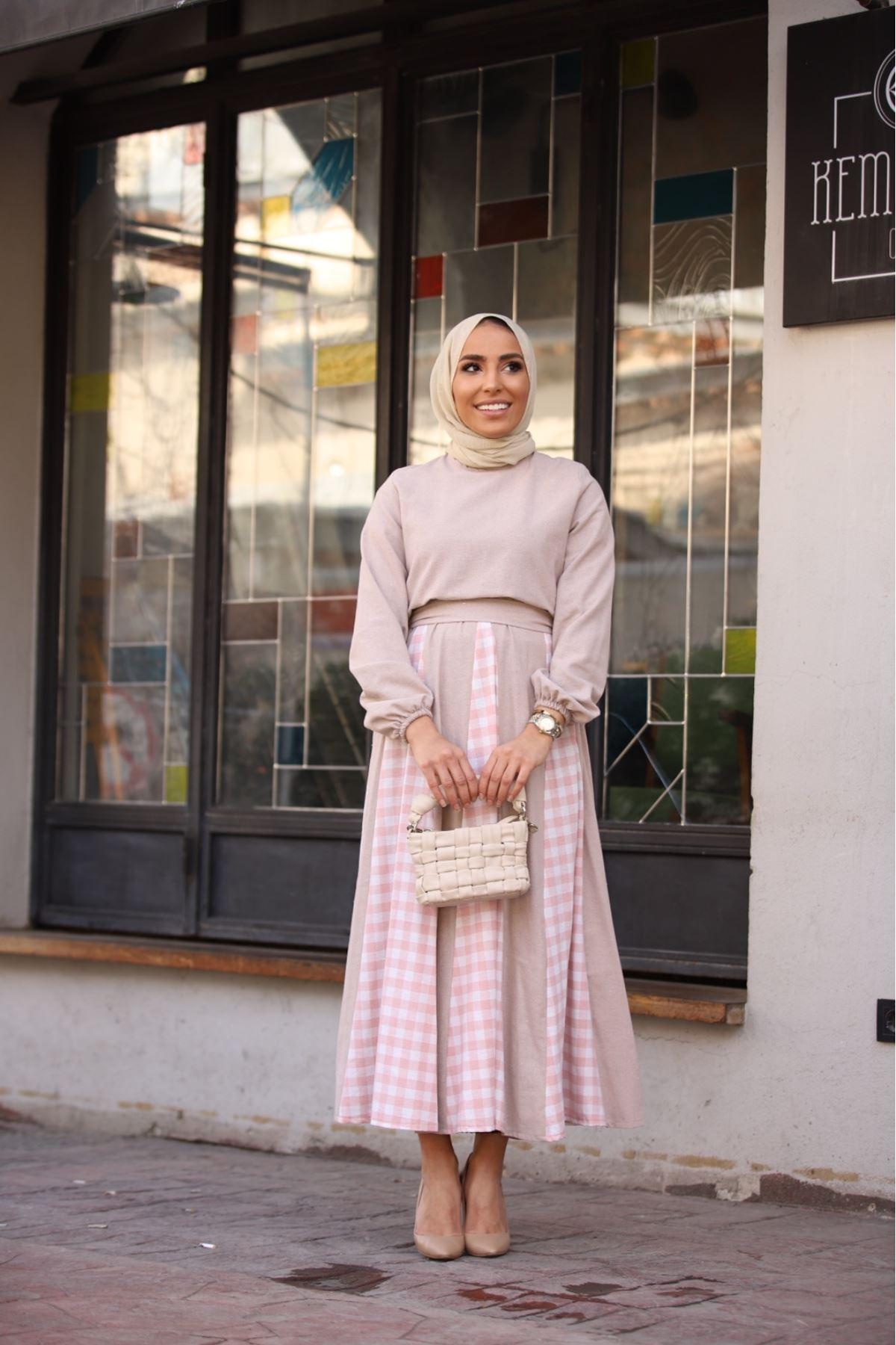 Pitikare detaylı keten elbise - Vizon
