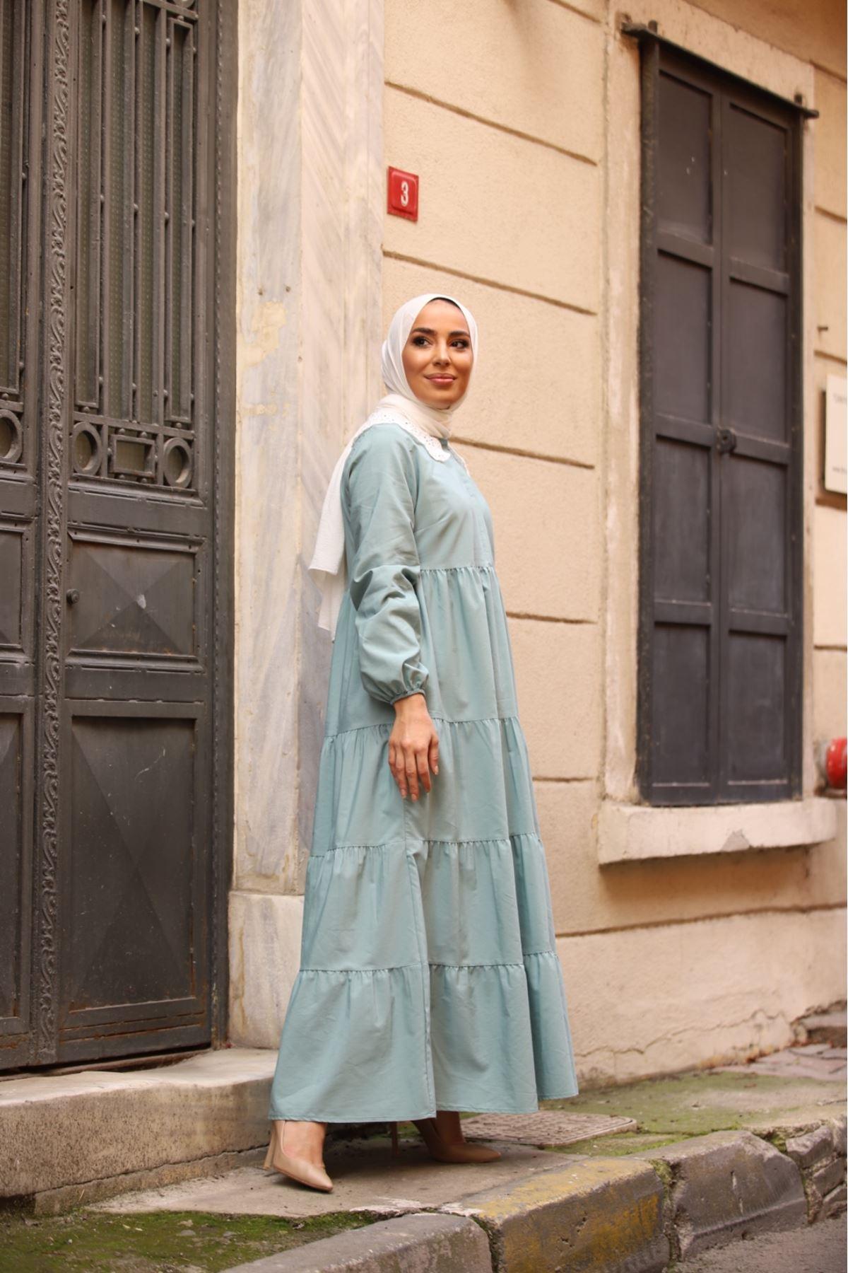Yaka detaylı katkat elbise - Su Yeşili
