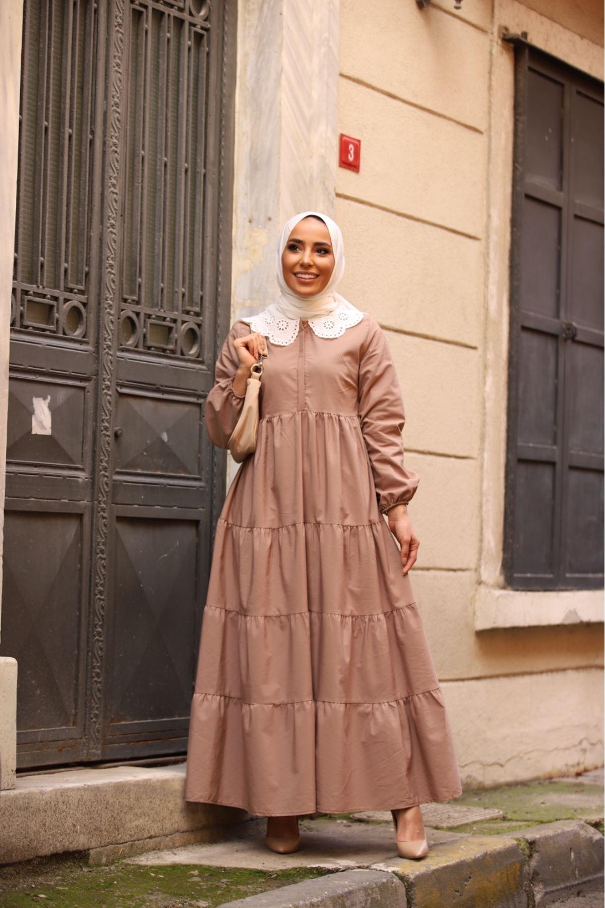 Yaka detaylı katkat elbise - Vizon