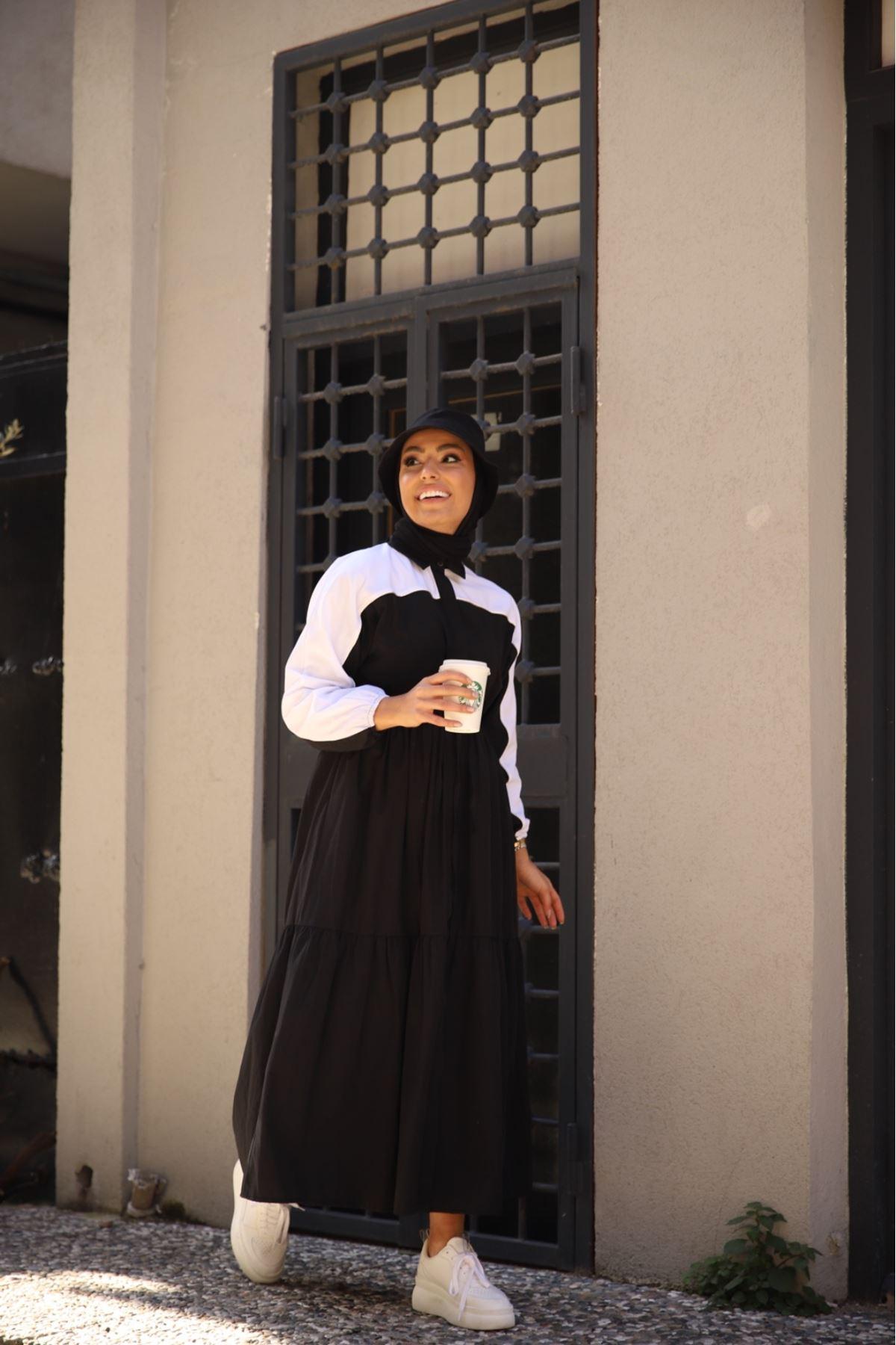 Riva biyeli elbise - Siyah