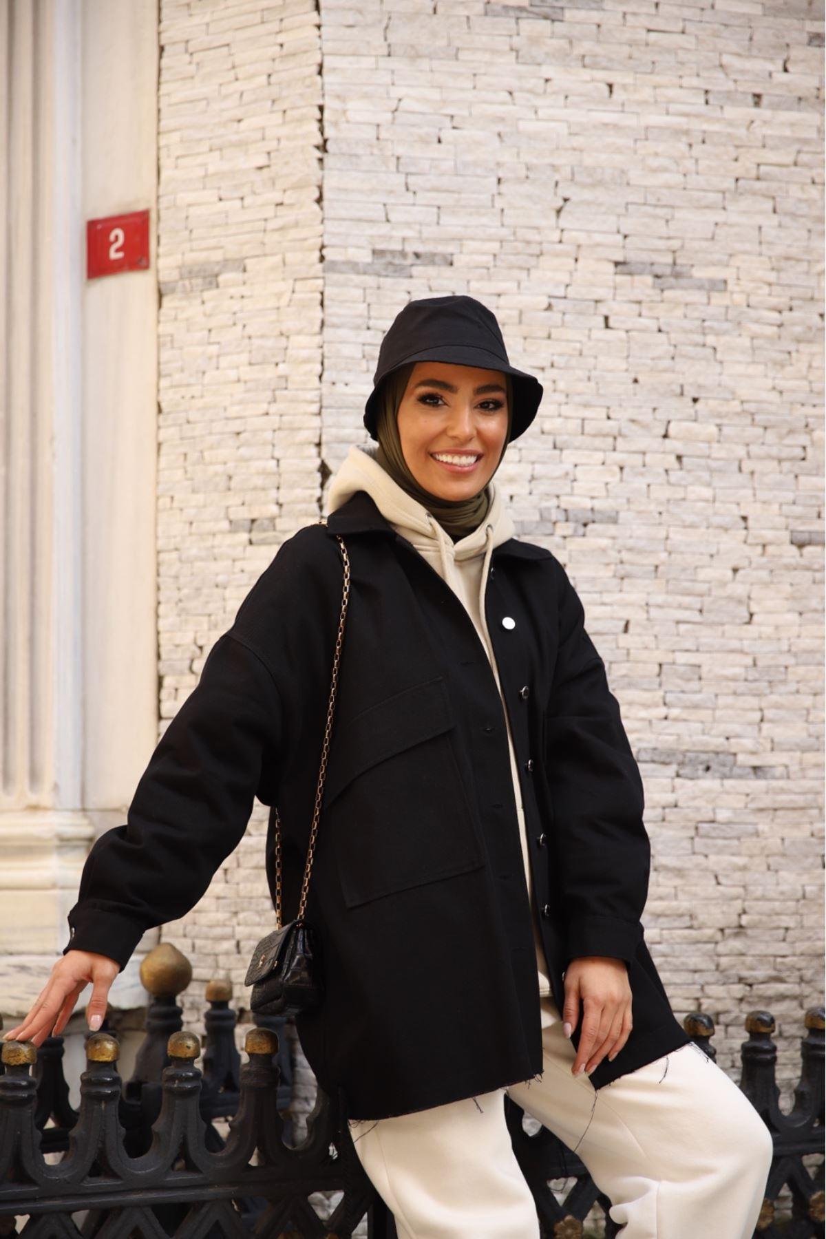 İp detaylı gabardin ceket - Siyah