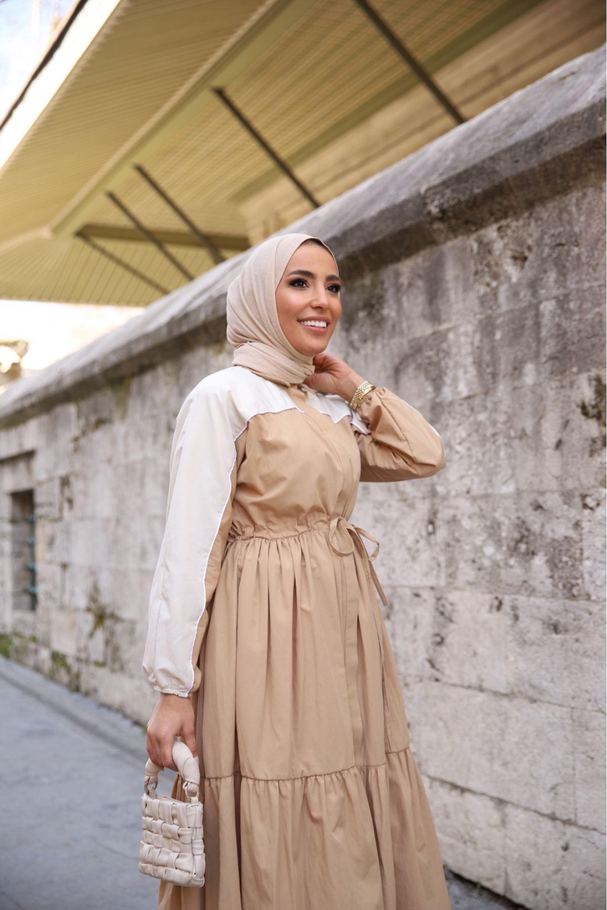 Riva biyeli elbise - Vizon