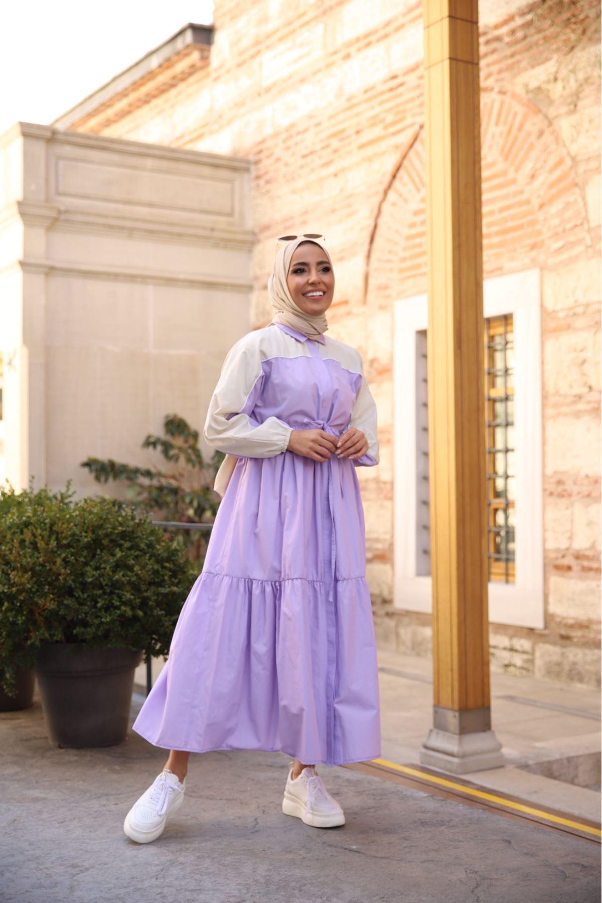 Riva biyeli elbise - Lila