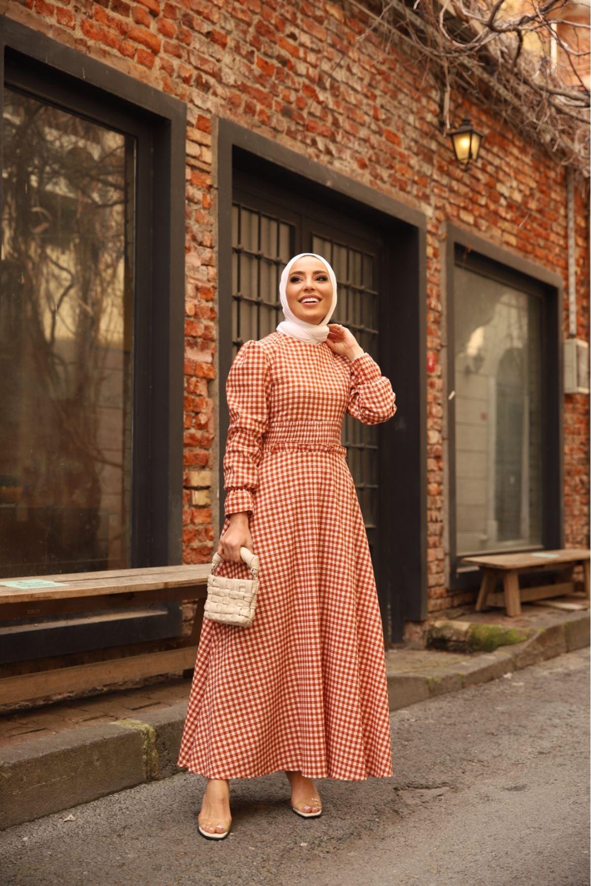 Pötikare bel detaylı elbise - Kiremit