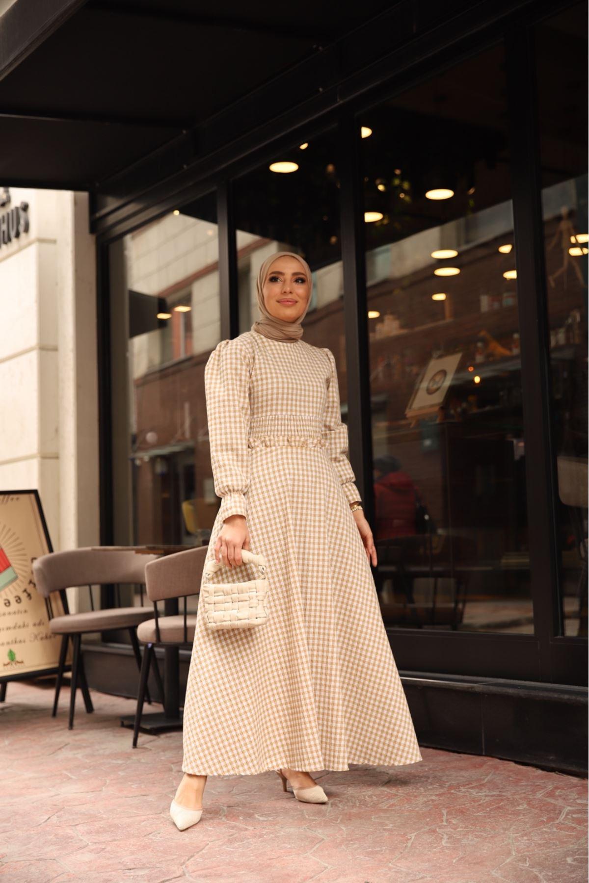 Pötikare bel detaylı elbise - Vizon