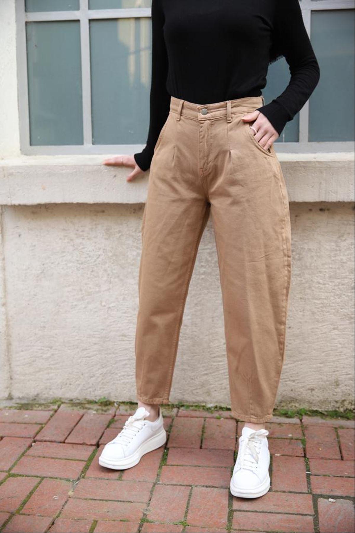 Baloon jean pantolon - taba