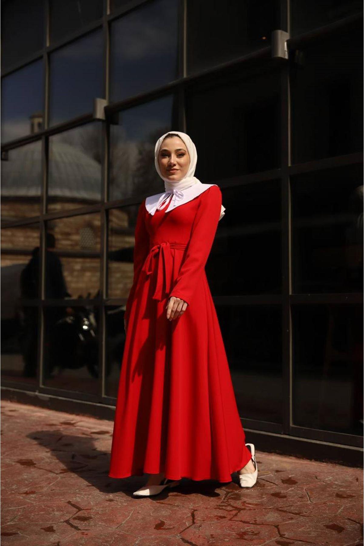 seyyar yaka elbise - kırmızı