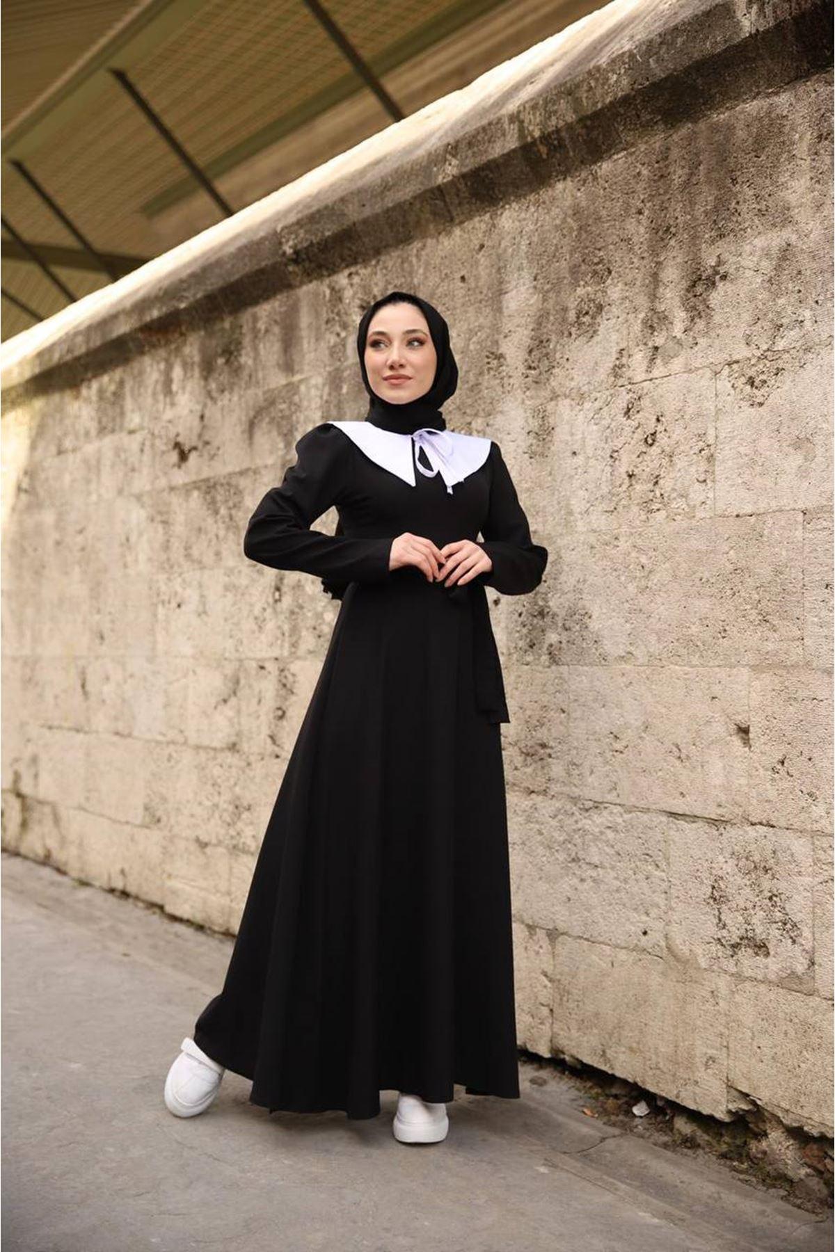 seyyar yaka elbise - siyah