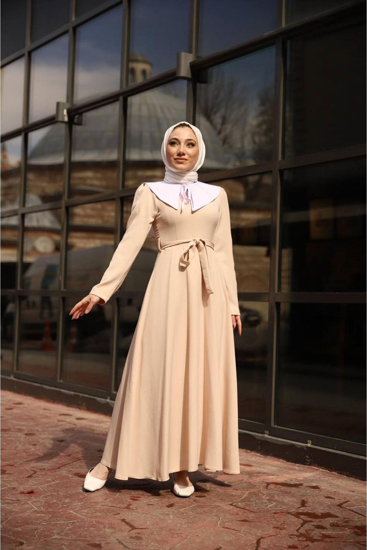 seyyar yaka elbise - vizon