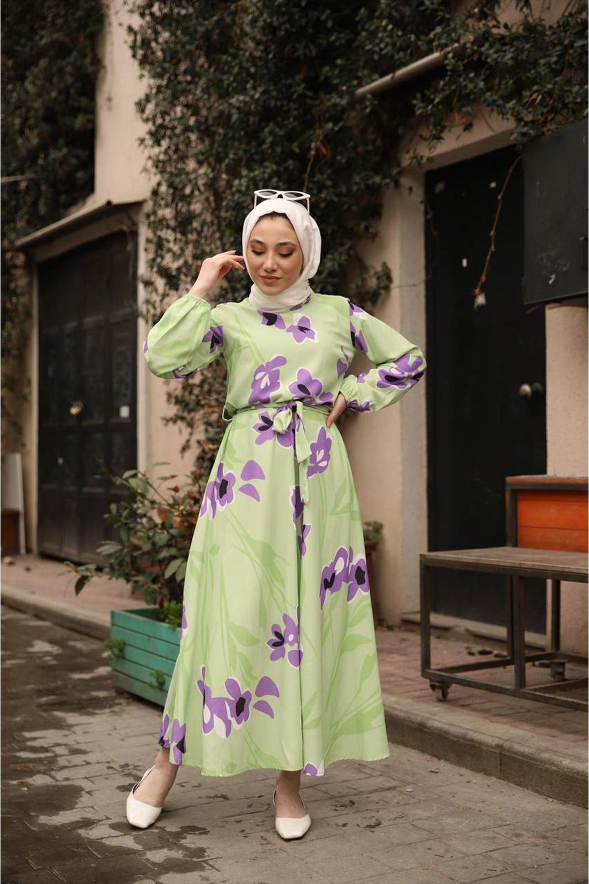 desenli elbise - yeşil