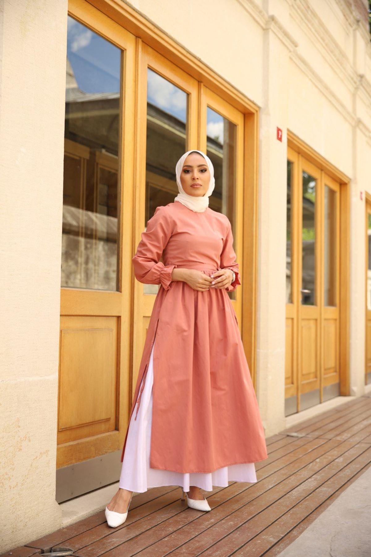 yırtmaçlı elbise - gülkurusu