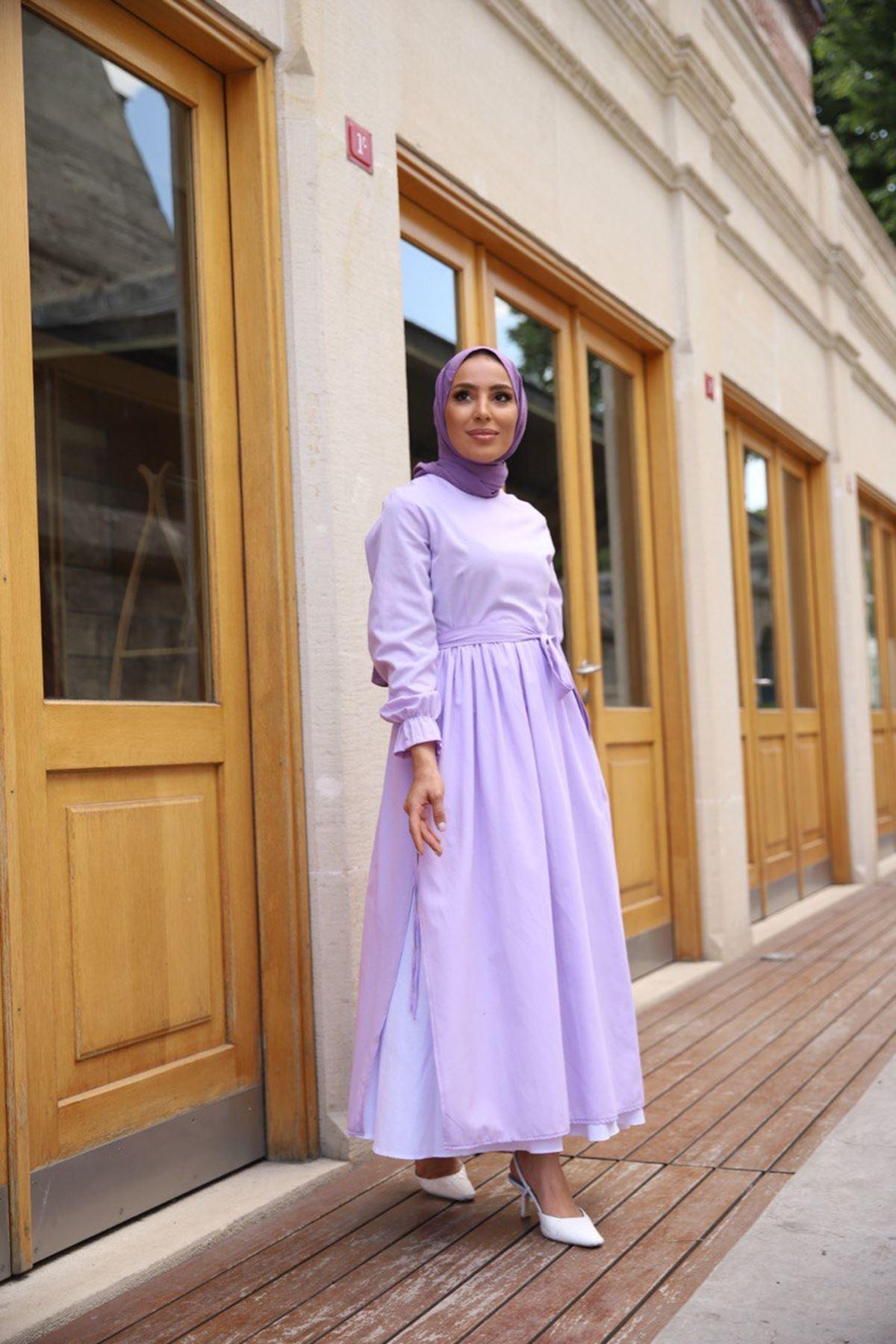 yırtmaçlı elbise - lila