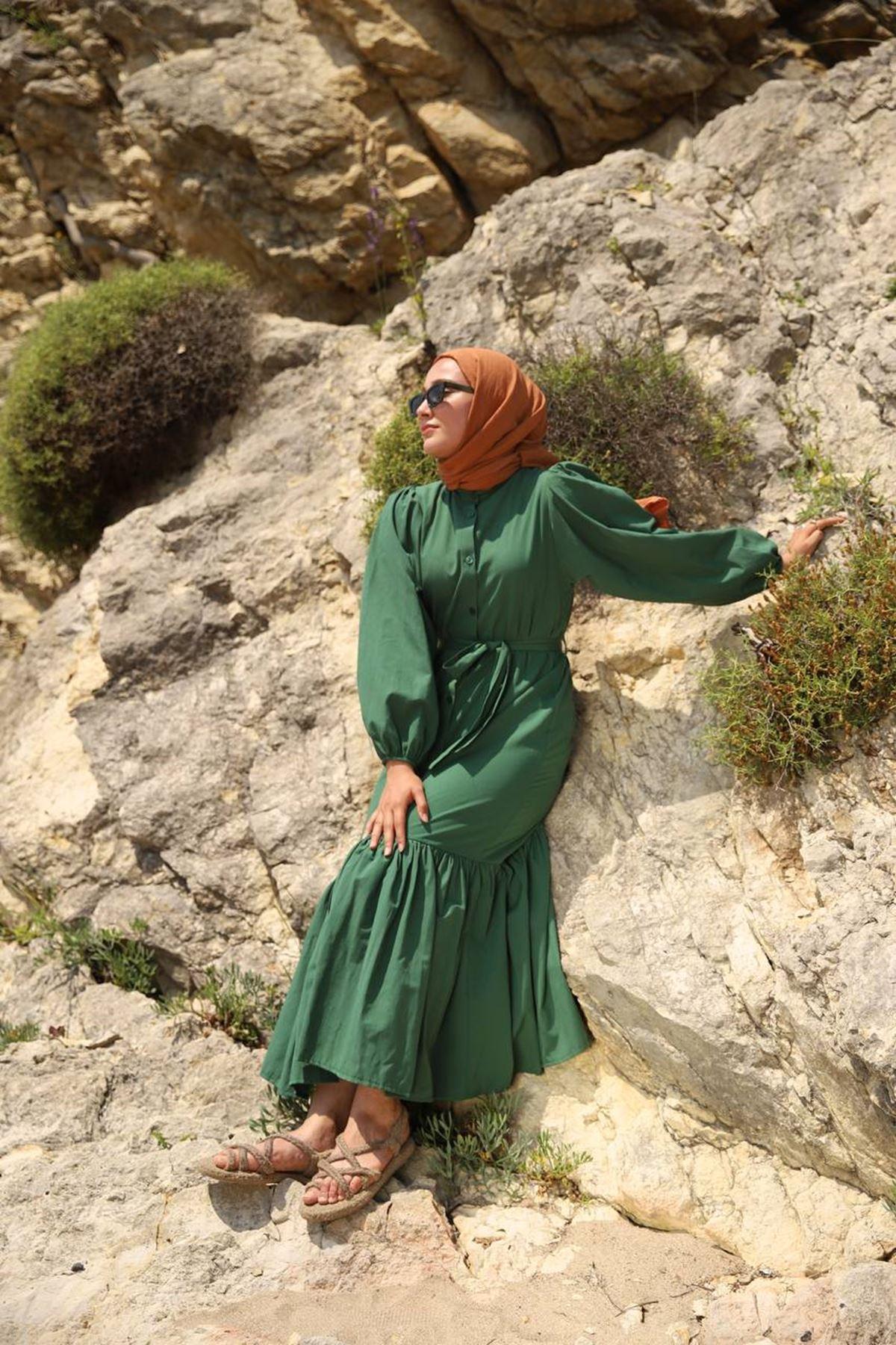 Mila elbise - zümrüt
