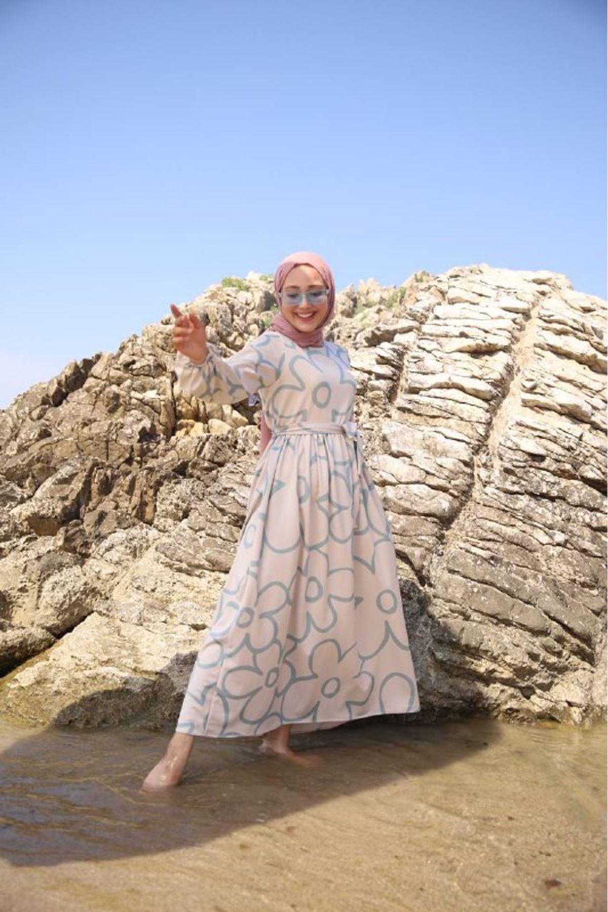 Papatya elbise - mavi