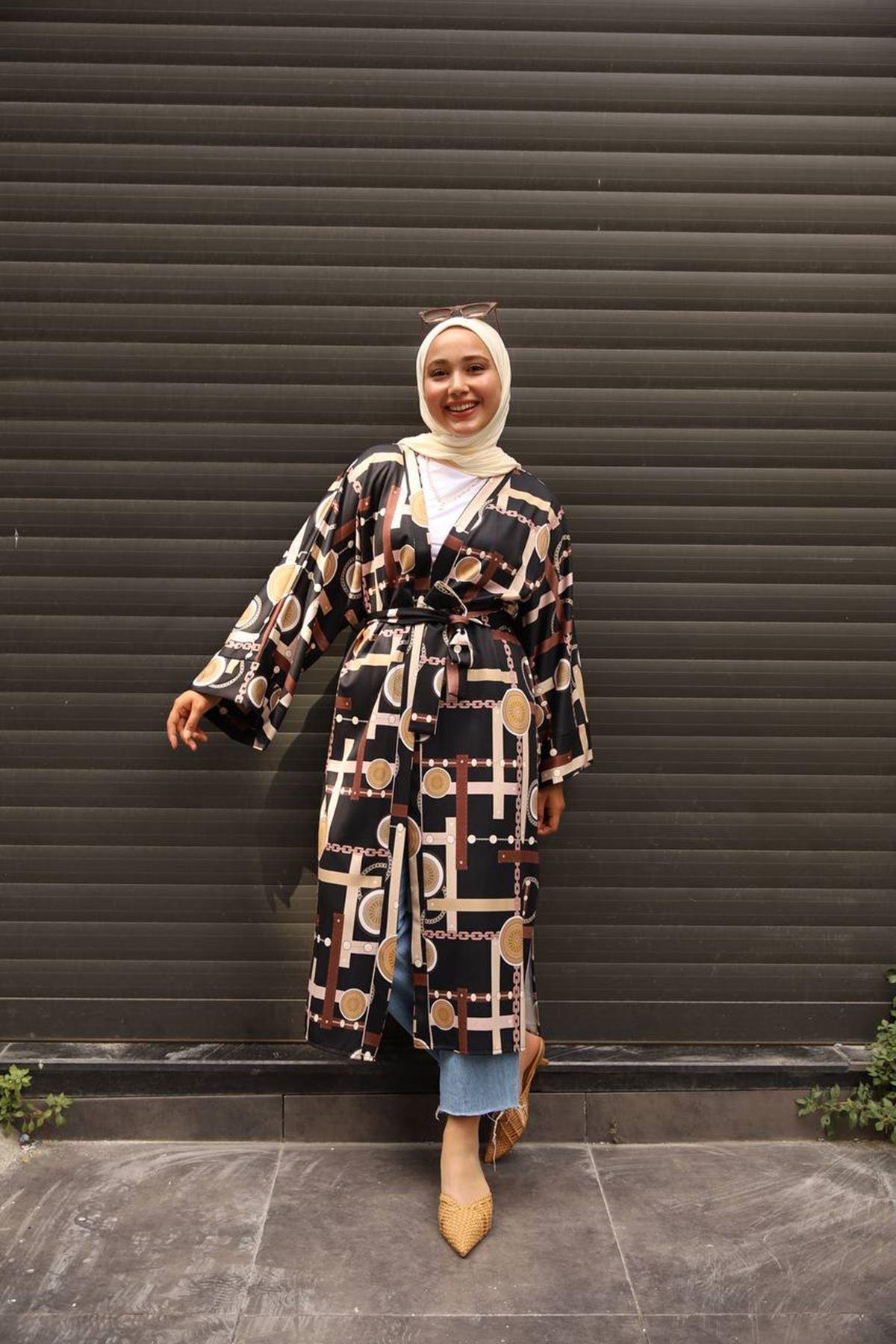 desenli kimono 1 - siyah
