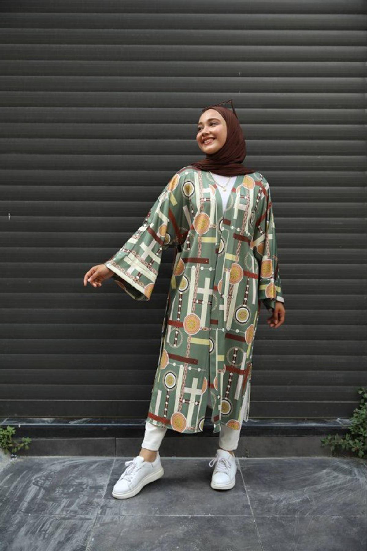 desenli kimono 1 - haki