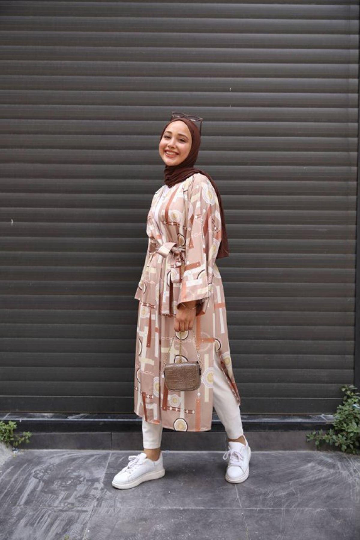 desenli kimono 1 - kahve