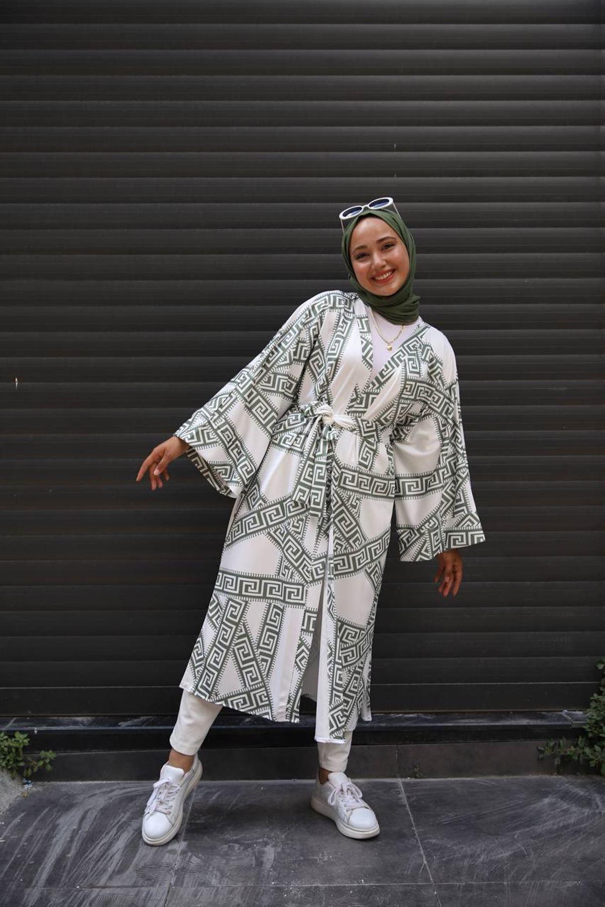 desenli kimono 2 - haki