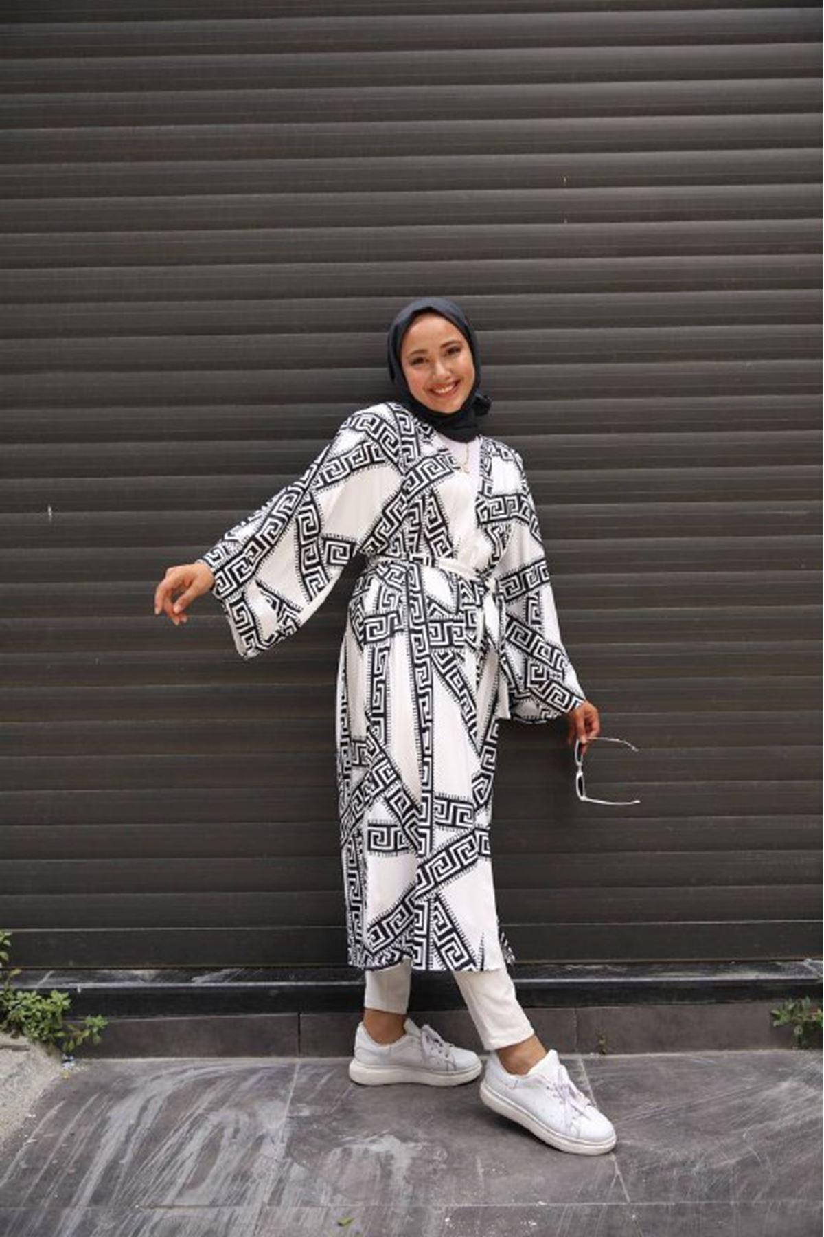 desenli kimono 2 - siyah